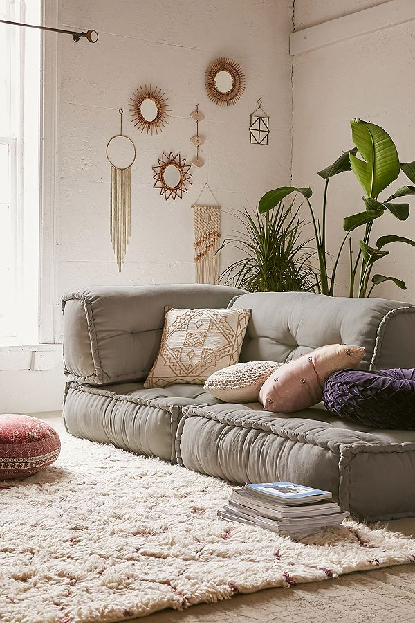 seventies Style - Following in fashion's footsteps, the seventies are making a stellar return to interiors in 2019. Natural materials such as bamboo, wicker and rattan are being championed and paired with plenty of greenery, luxe layering and colourful tassel details.Image: Reema Floor Cushion from Urban Outfitters, £195