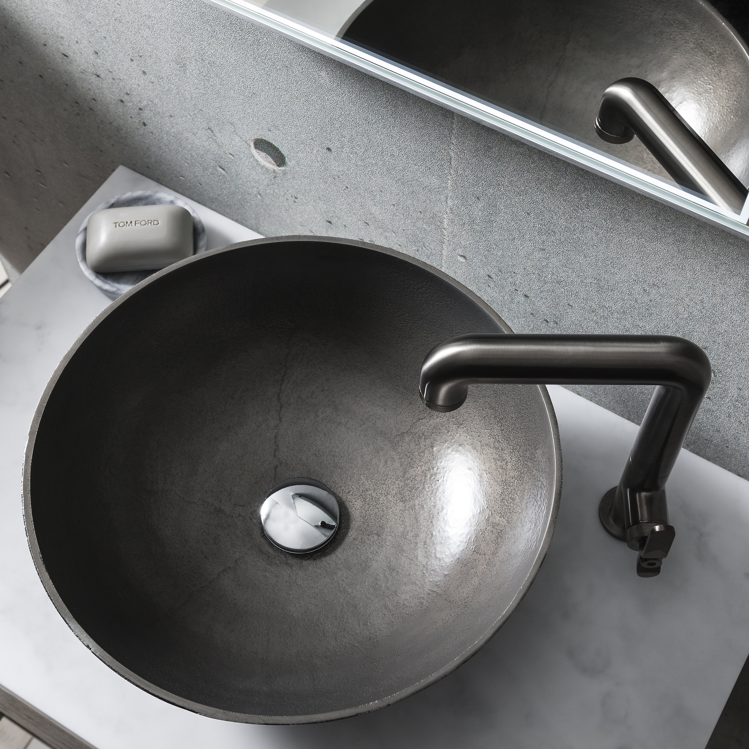 Crosswater Union Basin - If you're looking to achieve an industrial look and feel in your bathroom, the Union Basin by Crosswater will definitely tick a lot of boxes! Crafted from solid aluminium, this metallic countertop design has a textured finish and works well in both light and darker schemes.www.crosswater.co.uk