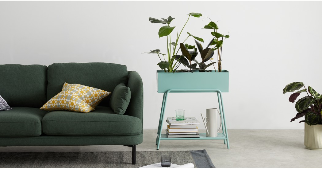 Made - Rubra Raised Metal Planter Stand, Cool Green £119.00