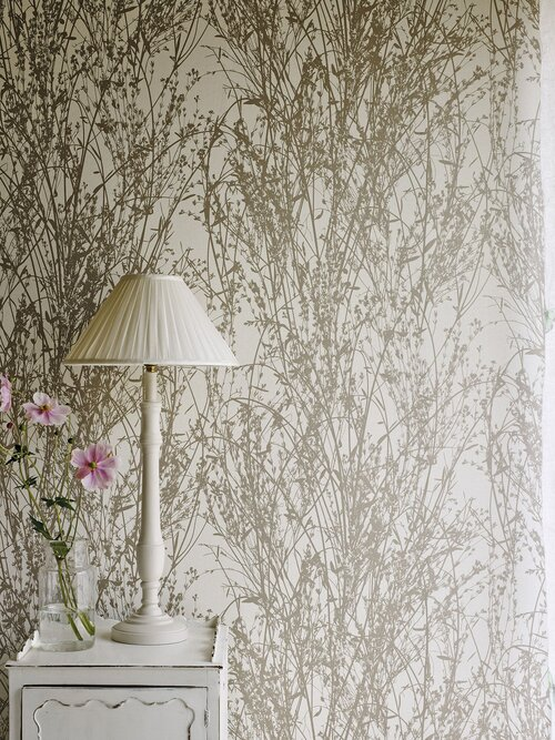 Sanderson Wallpaper - Meadow Canvas (215693)   Inspired by a French document from the archive which depicts a photographic silhouette of pressed grasses, this modern country wallpaper design is printed using rotary screen methods to add te.jpeg