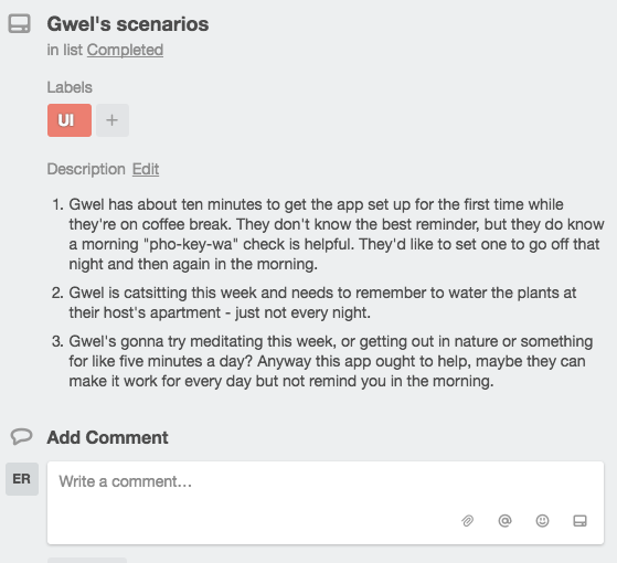 User stories for Gwel.