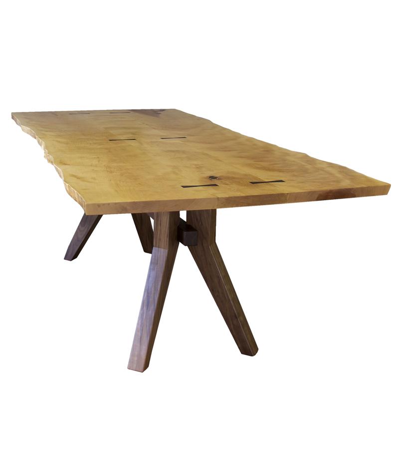 Live-edge Birch Table with Walnut Base