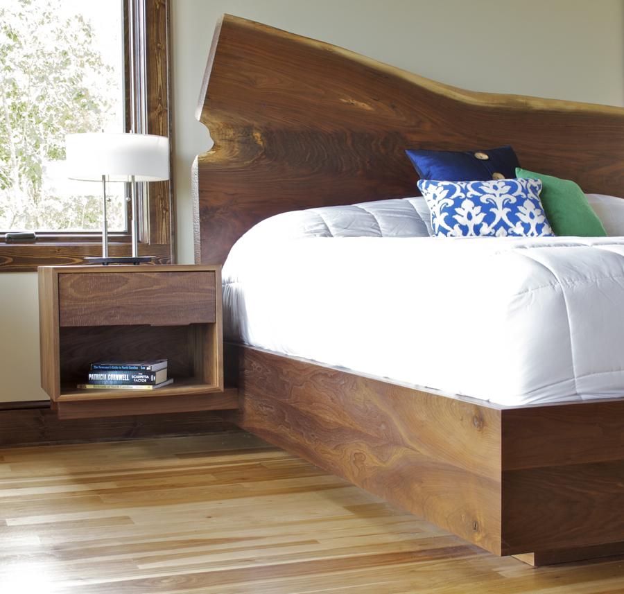 Rustic Modern Bed with Live-edge Walnut Headboard