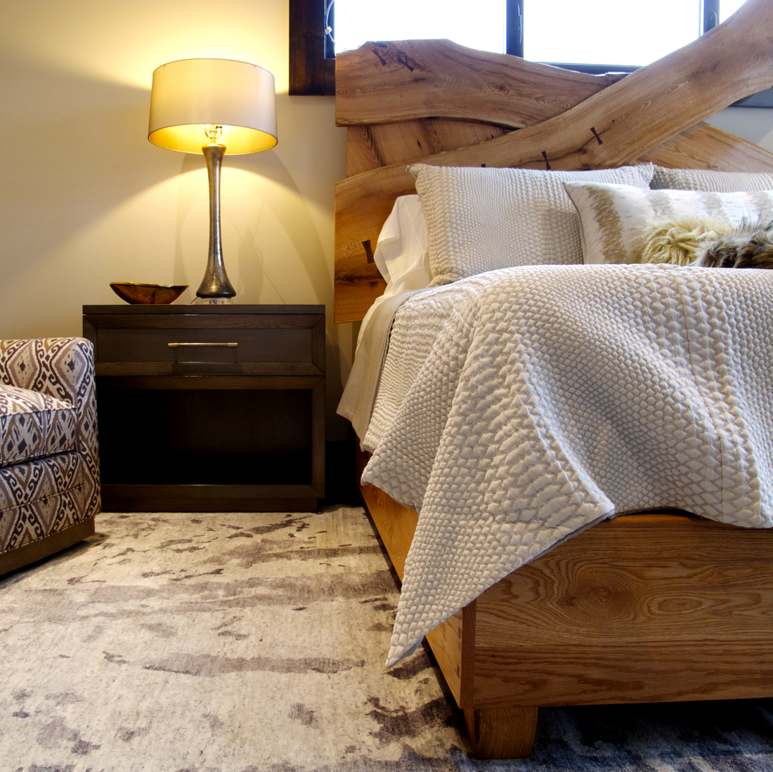 Rustic Luxe Bed - The slabs were woven together for a dramatic head board. Look at all the character in the wood from the harsh weather conditions on top of Beech Mountain.