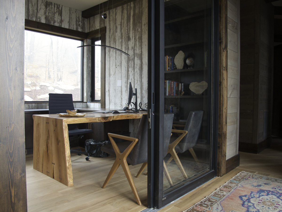waterfall fold live edge desk -  We love the styling of this modern rustic office with the bold desk and the reclaimed barn wood wall covering from our clients family farm.