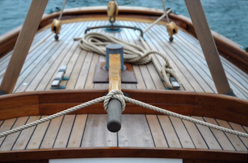The aft deck of the Mayflower 'Lyra' is clean, simple and functional