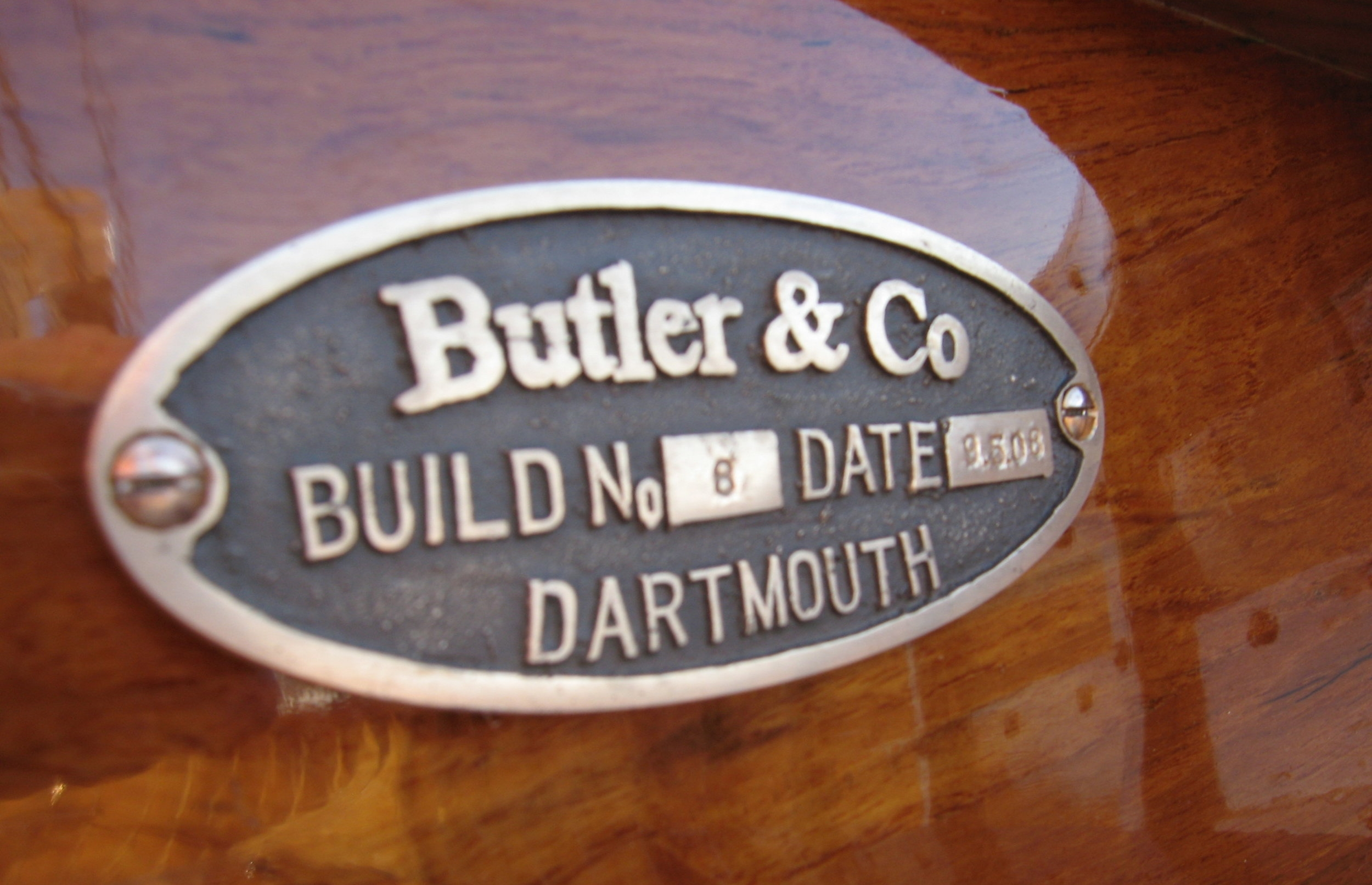 Each Butler & Co vessel is fitted with a unique builders plaque, detailing build number and date