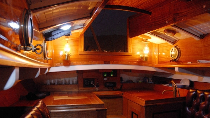 Lyra's interior has a beautiful, classic finish invoking the feel of a true gentleman's yacht