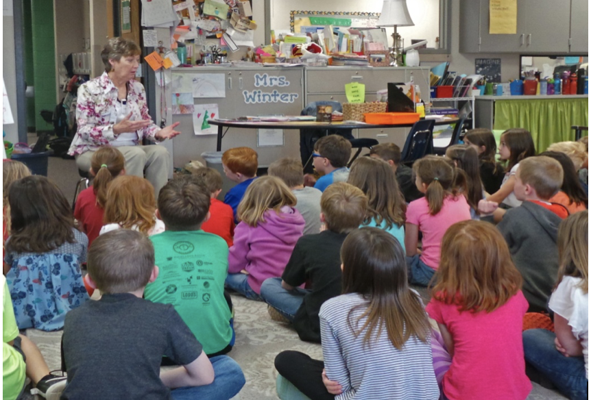Telling stories in granddaughter Hailey's 2nd grade classroom, April 2016