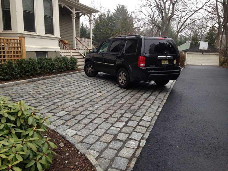 Stone Paver Parkign with Asphalt Driveway Westfield NJ