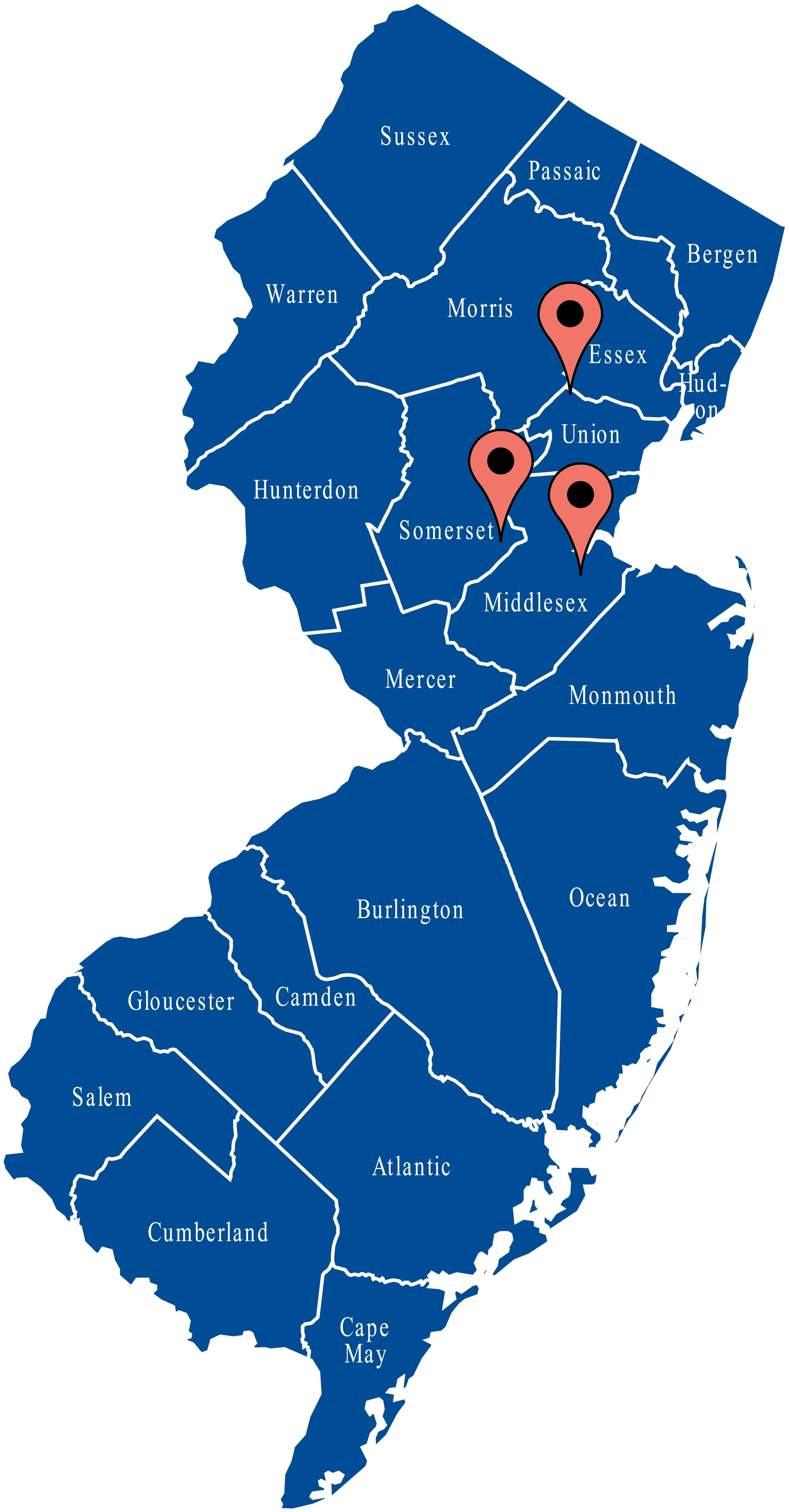 Map of New Jersey - Lou Porchetta Paving - Concrete, Paver, Belgium Block Contractor providing service in Bergen County NJ, Essex County NJ, Middlesex County NJ, Monmouth County NJ, Hudson County NJ, Ocean County NJ, Union County NJ, Camden County NJ, Passaic County NJ, Morris County NJ, Burlington County NJ, Mercer County NJ, Somerset County NJ, Gloucester County NJ, Atlantic County NJ, Sussex County NJ, Cumberland County NJ, Hunterdon County NJ, Warren County NJ, Cape May County NJ, Salem County NJ