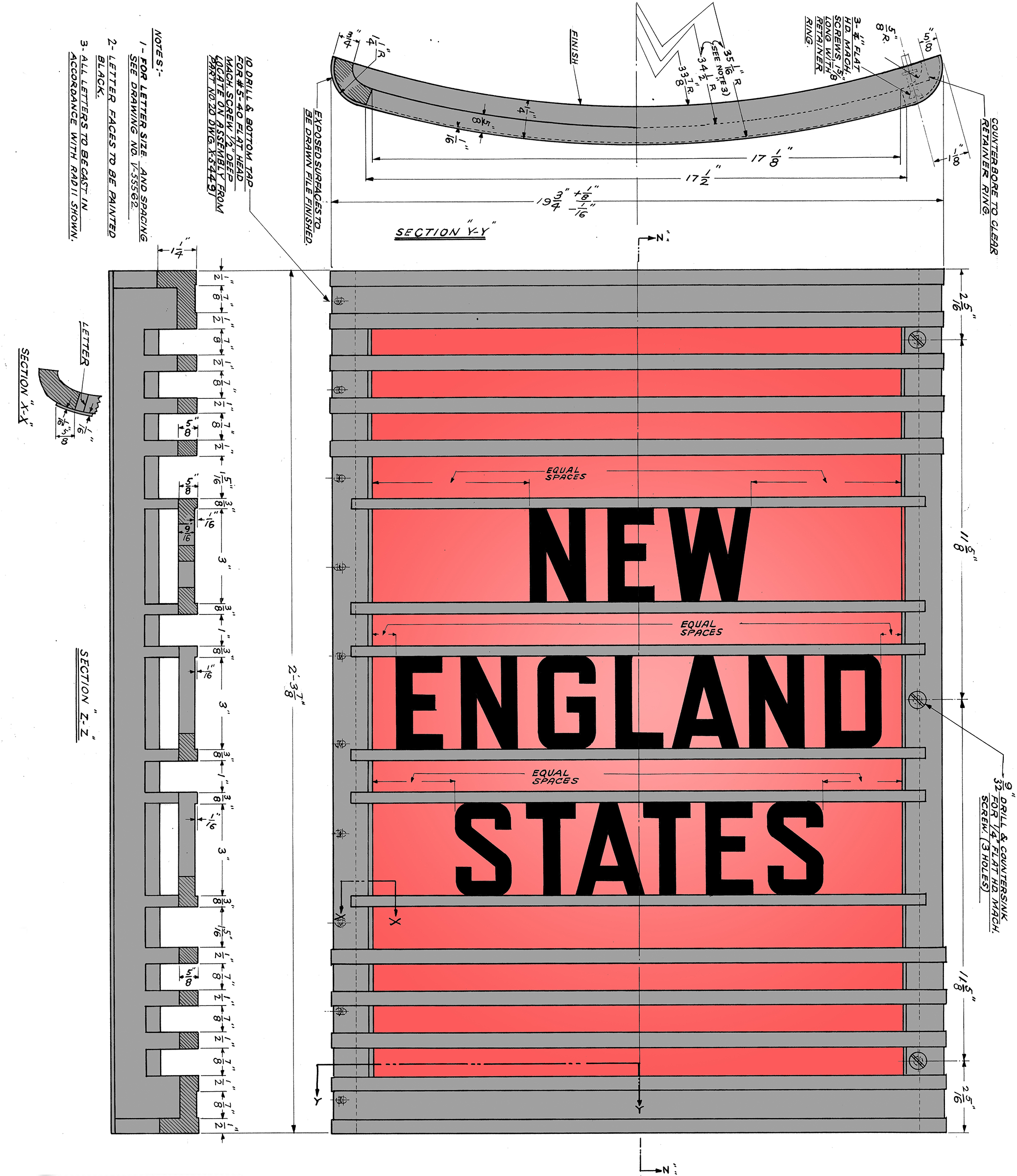 Original 1949 spec drawings (colorized) for the New York Central's  New England States  tailsign. These drawings were used to make an exact stainless steel replica that adorns the car today.