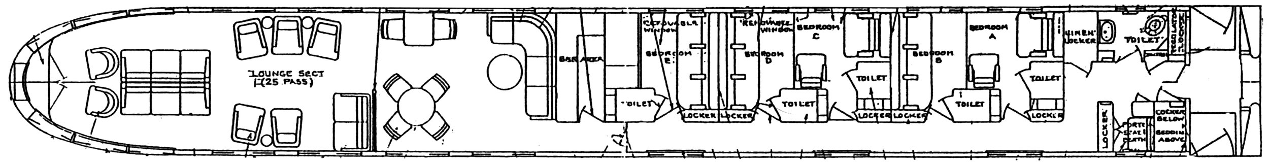 The  Babbling Brook' s original 1949 interior floorplan.