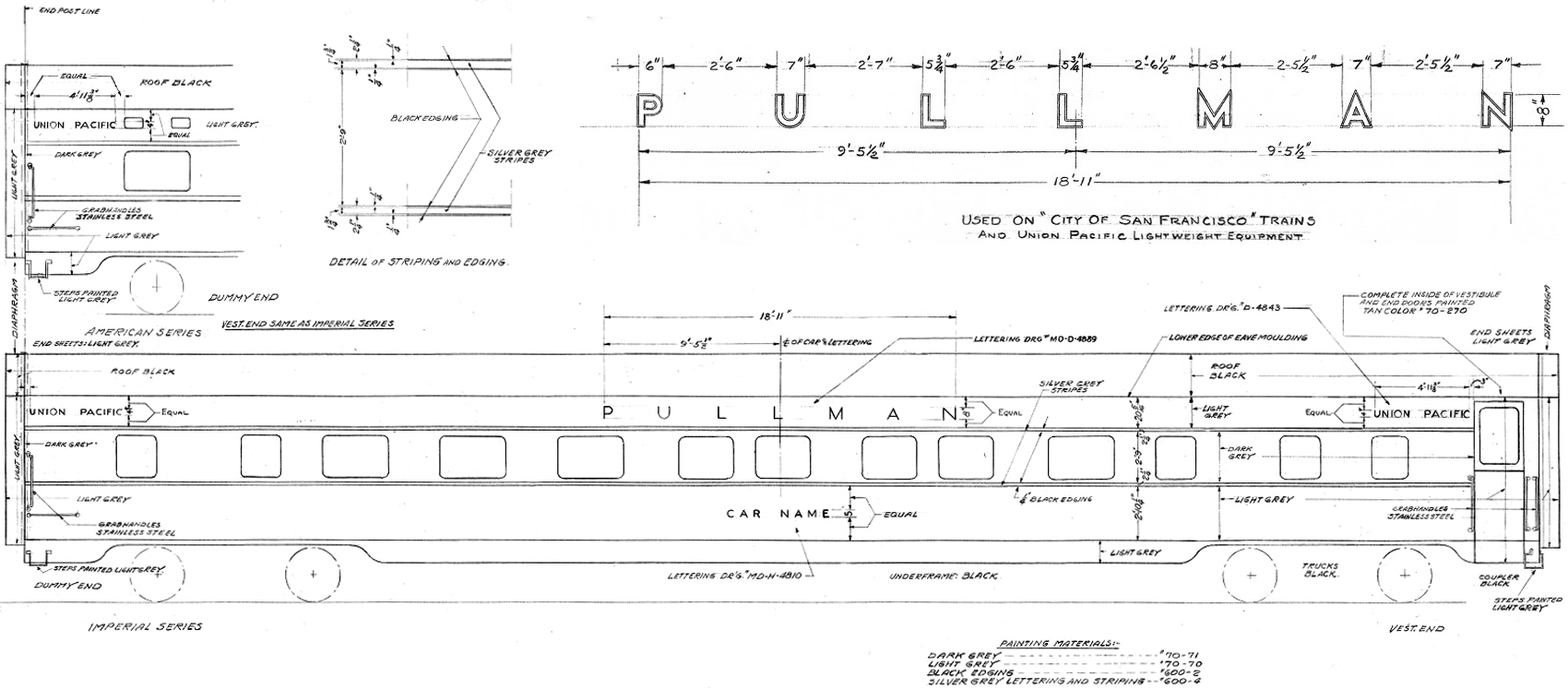 "Original 1950 lettering diagram for the ""Pacific"" series of cars."