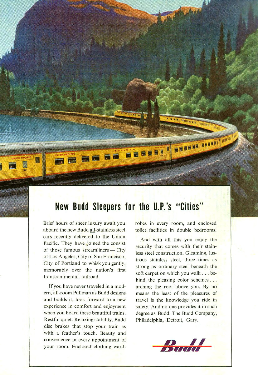 "Original Budd ad for the new sleepers on the UP's ""Cities"" trains."