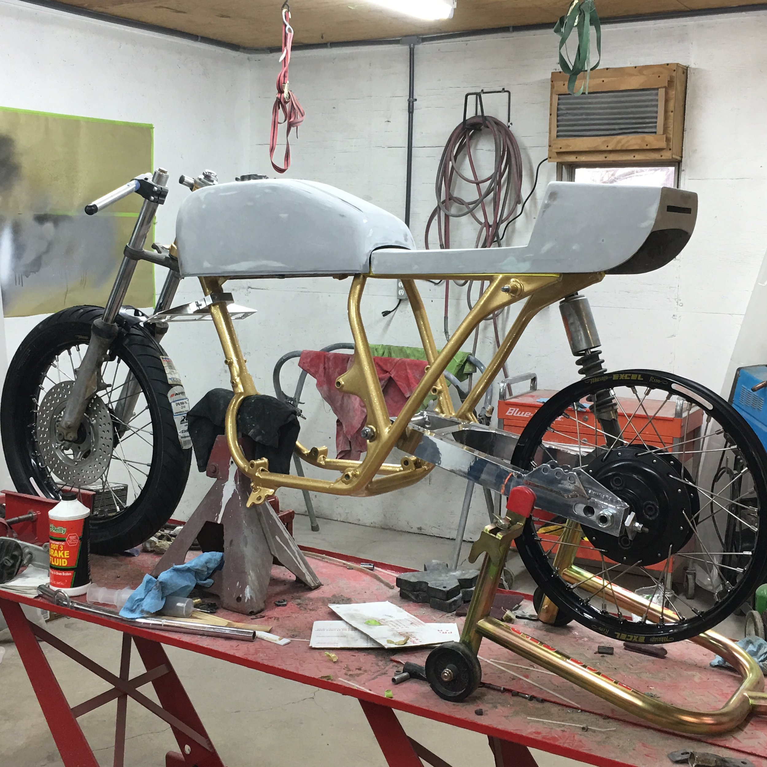 With a rolling chassis, the excitement really grows.  It will be a finished motorcycle soon!