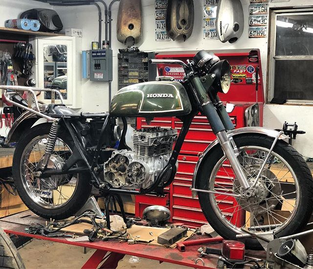 Motor is back in the chassis.  This cb350f will be a loving again soon