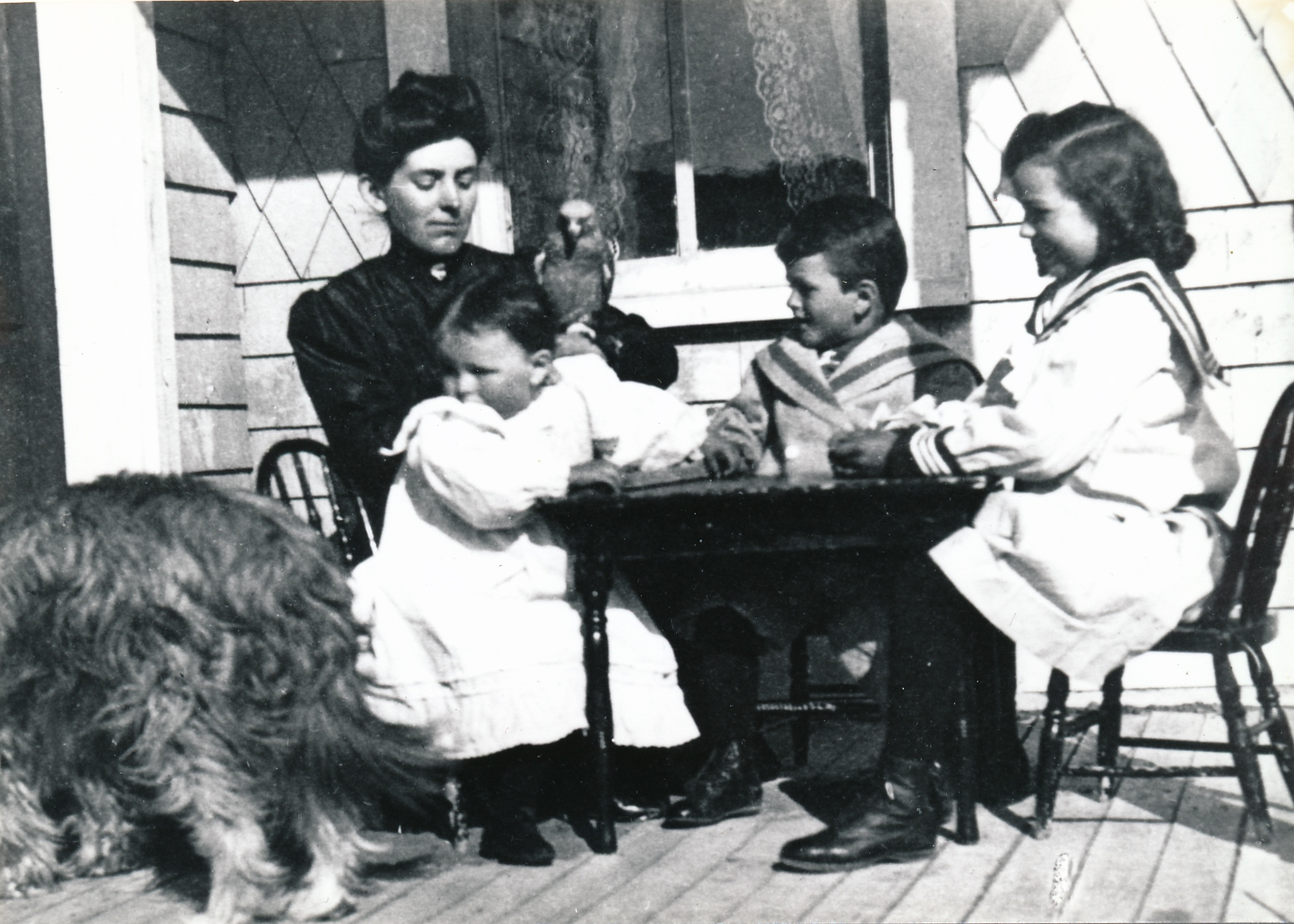 From the Glenbow Archives (Image: Lavinia Begg with her three children on the back porch of the ranch house at Dunbow, left to right, Lavinia Jr., Sandy and Norah. On Lavinia Sr.'s arm is Joe, her African grey parrot. She's wearing a high-necked blouse, the children all wear the same outfit:long sailor-type blouses with button-up boots. The children and the parrot seem fascinated by Mike a curly-haired dog with his hindquarters to the camera who seems to be eating,)