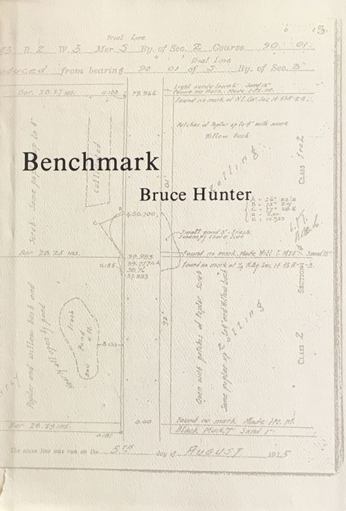 (Image: Book cover of  Benchmark  on a ivory/white background of a surveryor's journal with map grids and handwriting.)