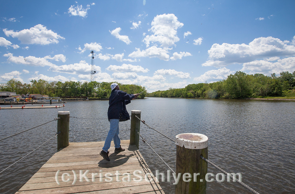 Charles Patrick fishing on the Anacostia River. Patrick doesn't eat the fish he catches here. He fishes just for the enjoyment of the river.