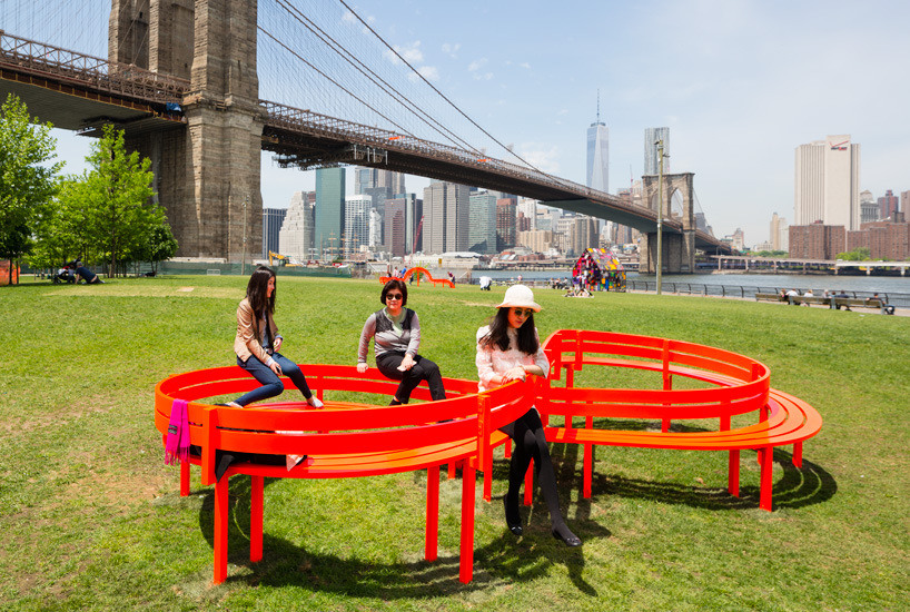"""""""Please Touch the Art,"""" a temporary installation on New York's Brooklyn Bridge Park waterfront. Photo by  James Ewing  and the Public Art Fund, NY"""