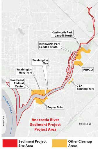 Cleanup areas along the Anacostia River. From the Figures, Tables and Appendices listed on the  Anacostia River Sediment Project website .