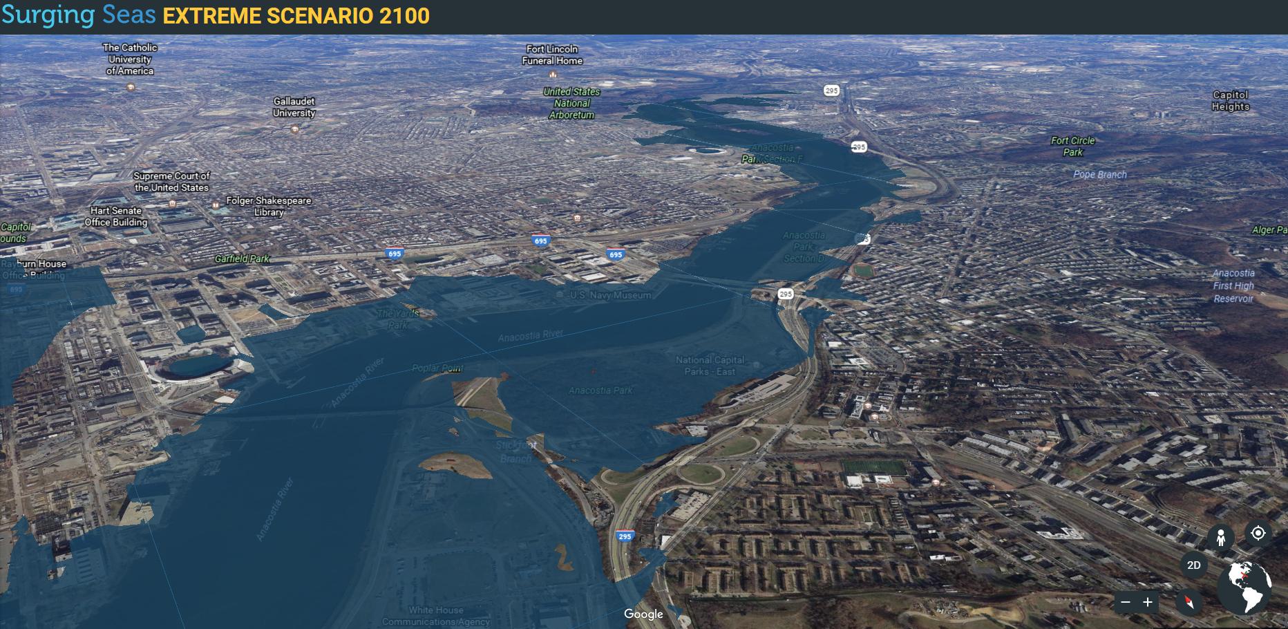Screenshot of the Anacostia River taken using the Surging Seas Extreme Scenario 2100 tool.