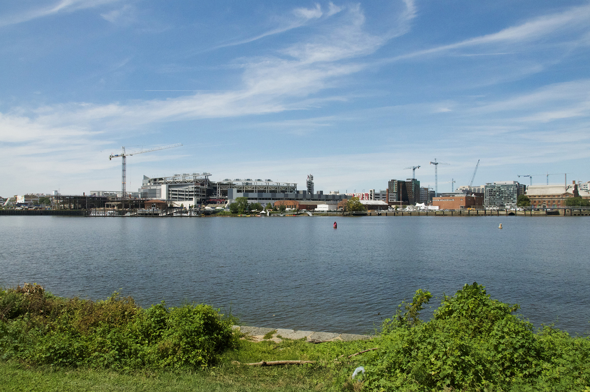 All-Star Game events should be held in Anacostia Park, just across the river, looking back at Nationals Park.