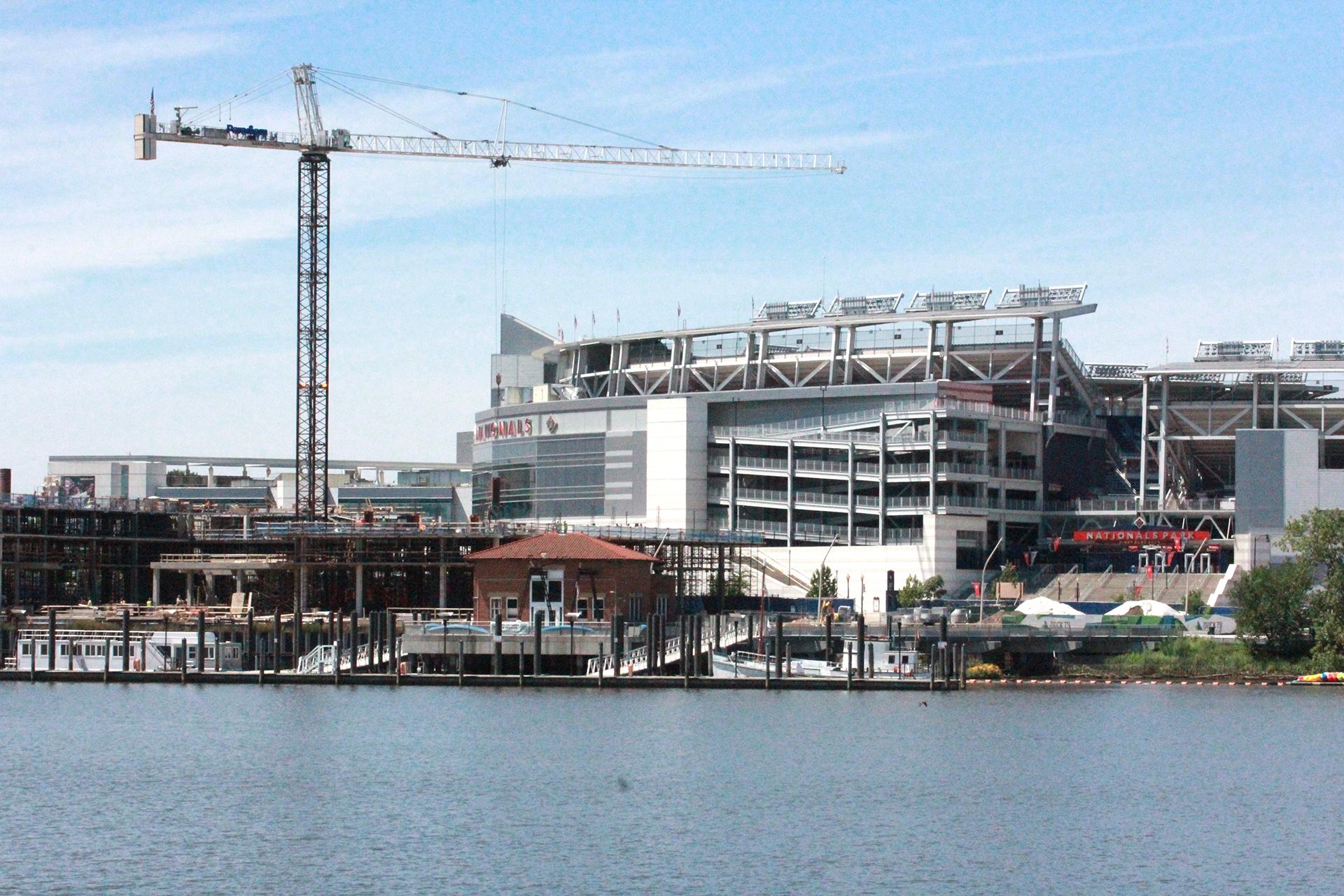 Cranes still dominate the sky near Nationals Stadium.