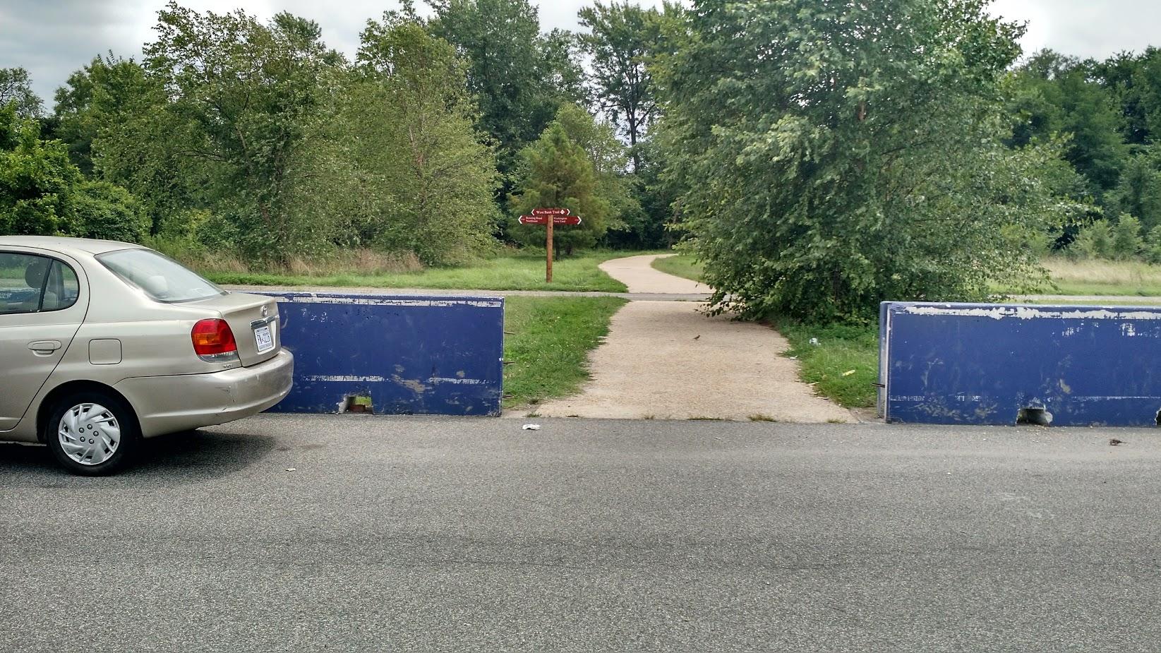Entrance to Kingman Island from the RFK Stadium parking lots.