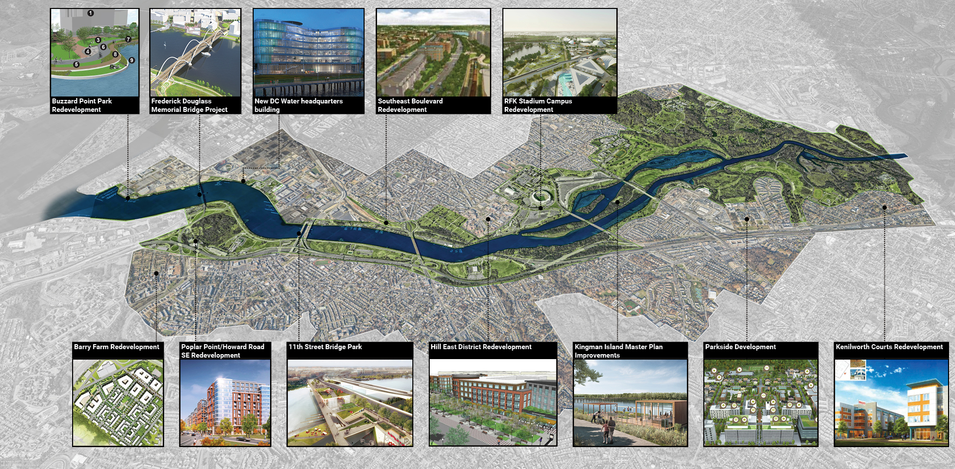 Some of the projects on the horizon along the Anacostia River corridor.