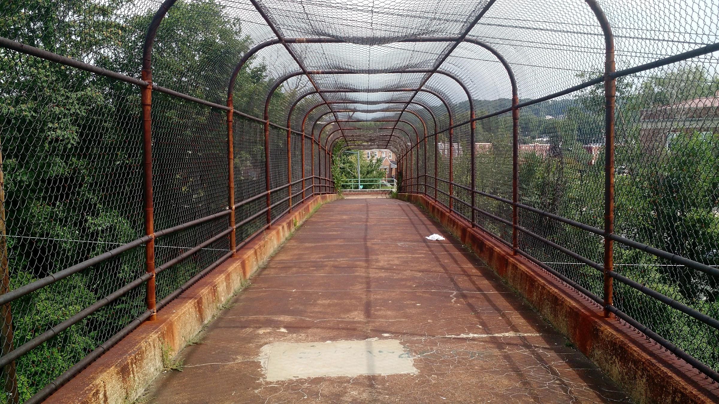 This is the pedestrian bridge between the neighborhood around Anacostia High School and Anacostia Park, over Highway 295.