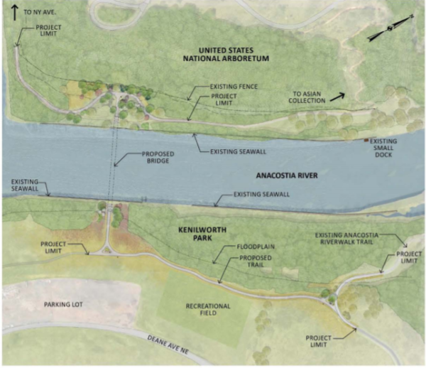 If DDOT builds the new pedestrian bridge from the Landscape Arboretum to Kenilworth Park, what happens if the remediation plan for Kenilworth Park calls for  removal of material where the bridge lands  or the plan for future use of the site doesn't line up with the bridge location?