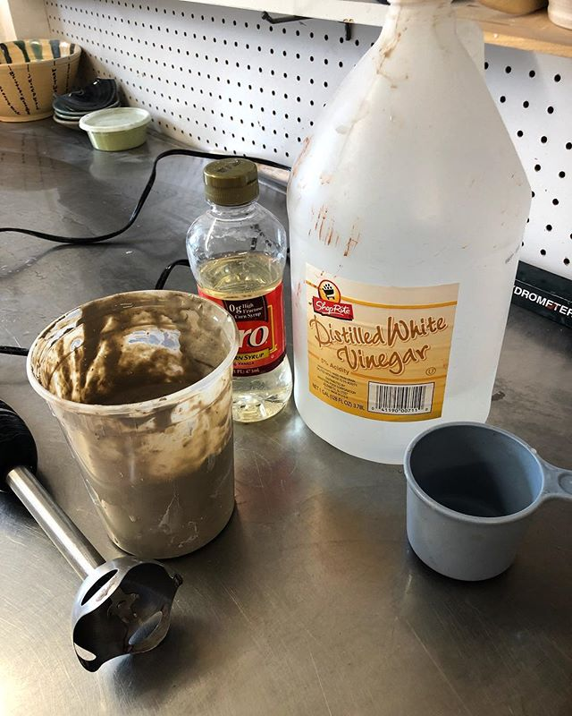 Mixing up some Spooze to repair a crack in greenware. One part clay body, one part Corn syrup, one part vinegar, and 2 yards cheap toilet paper. Yum!