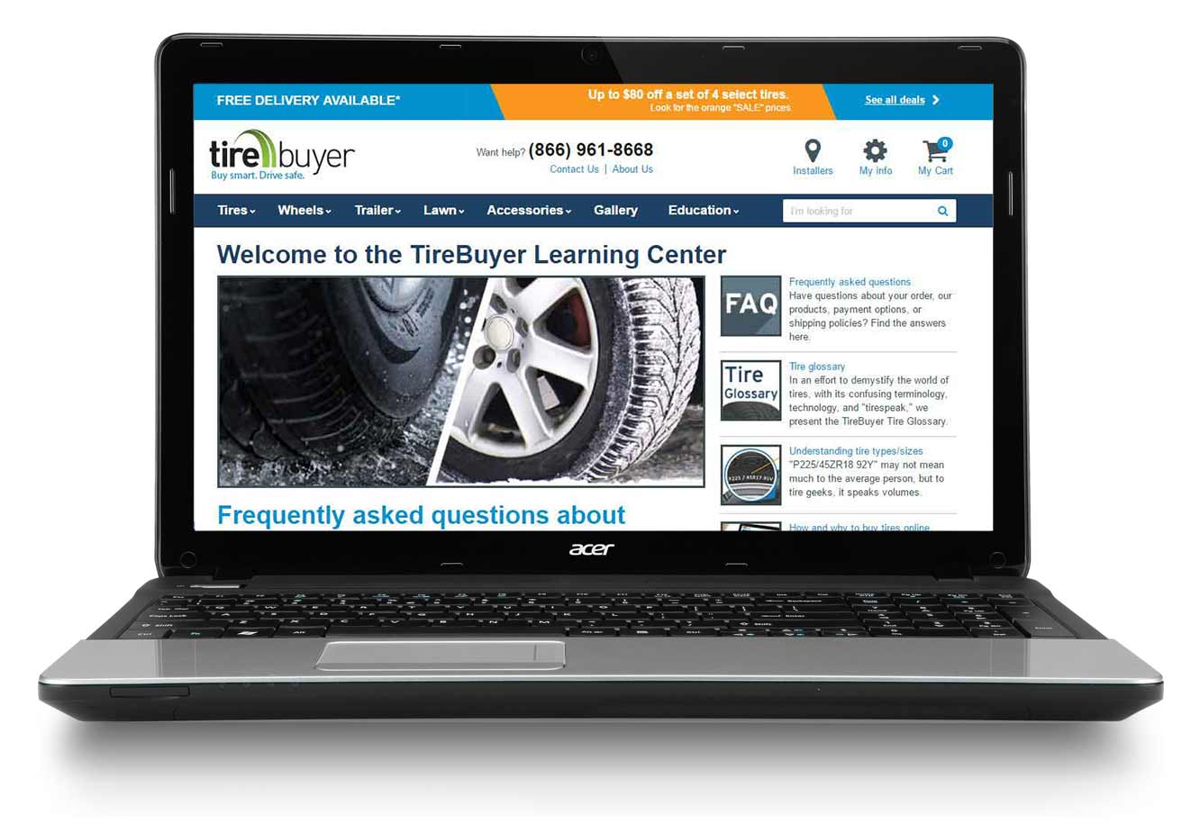 An article from the tirebuyer education section. Highlighted description of rules governing how we offered suggestions.
