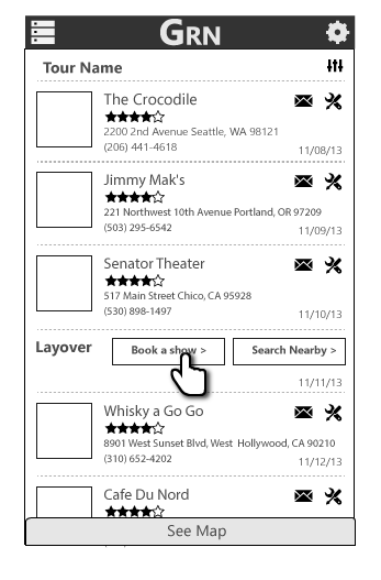 list view of tour