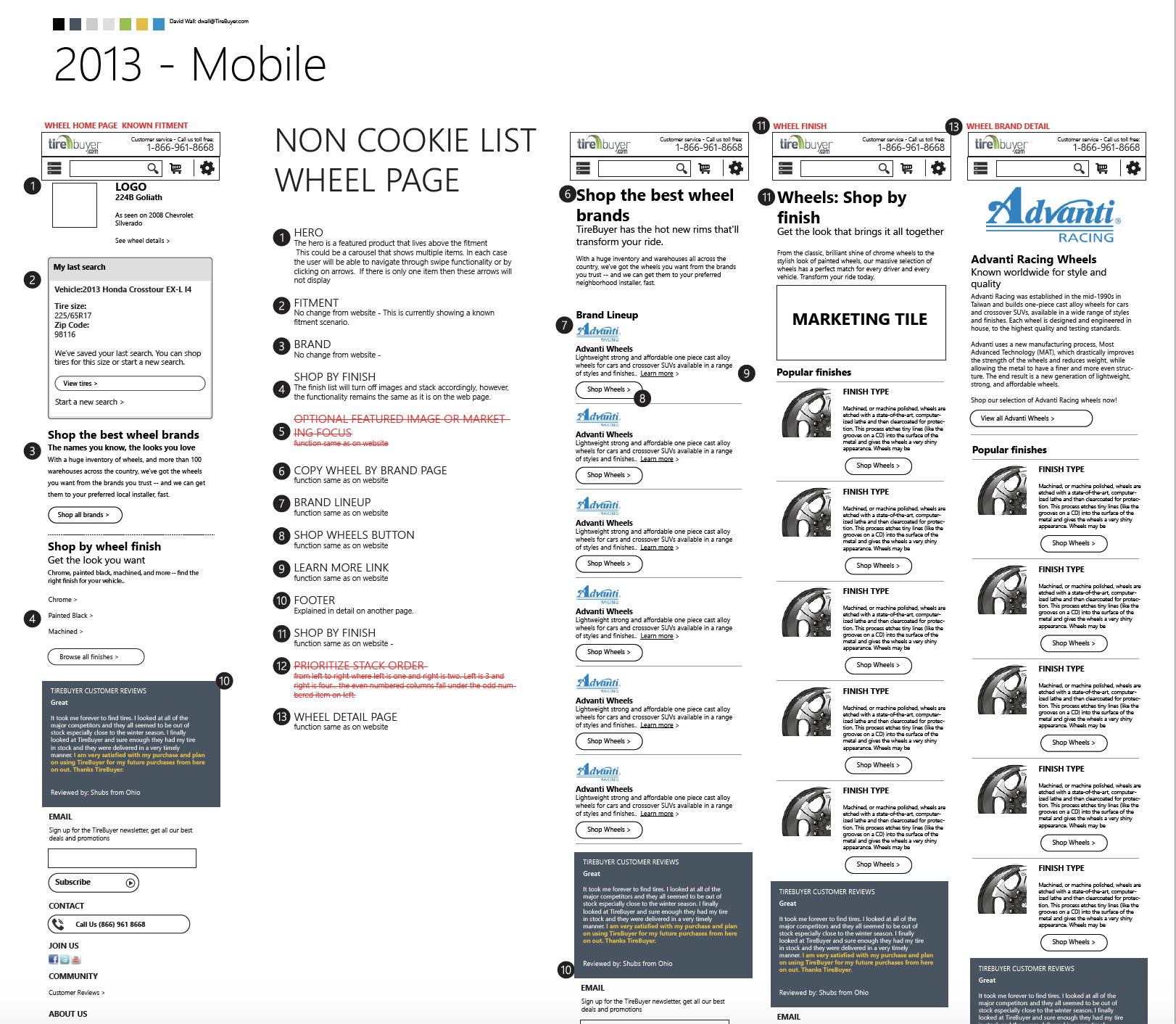 Screen shot of annotated markup for mobile conversion
