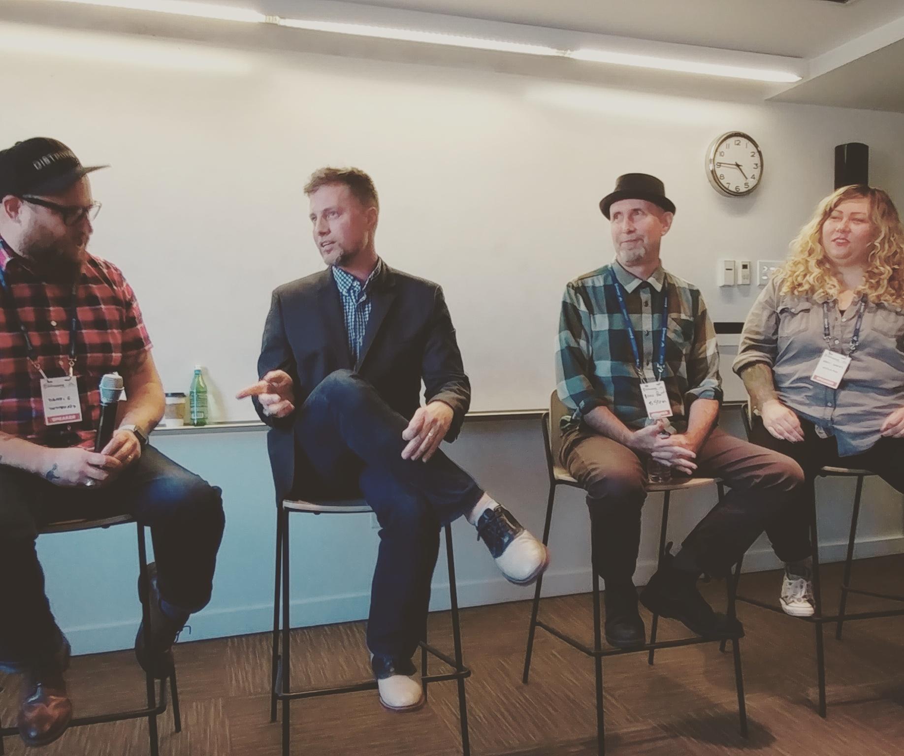 Music tech panel at Seattle Startup week 2017: LEFT TO RIGHT:  Daniel G. Harmann - (Director, Artist Relations, DistroKid), Adam Farish  - (CEO, 8Stem Interactive Music), Bruce   Pavitt  - (Creative Director, 8Stem Interactive Music (Founder of Subpop Records)), Meli   Darby  - (Vulcan/Upstream Music Fest + Summit)