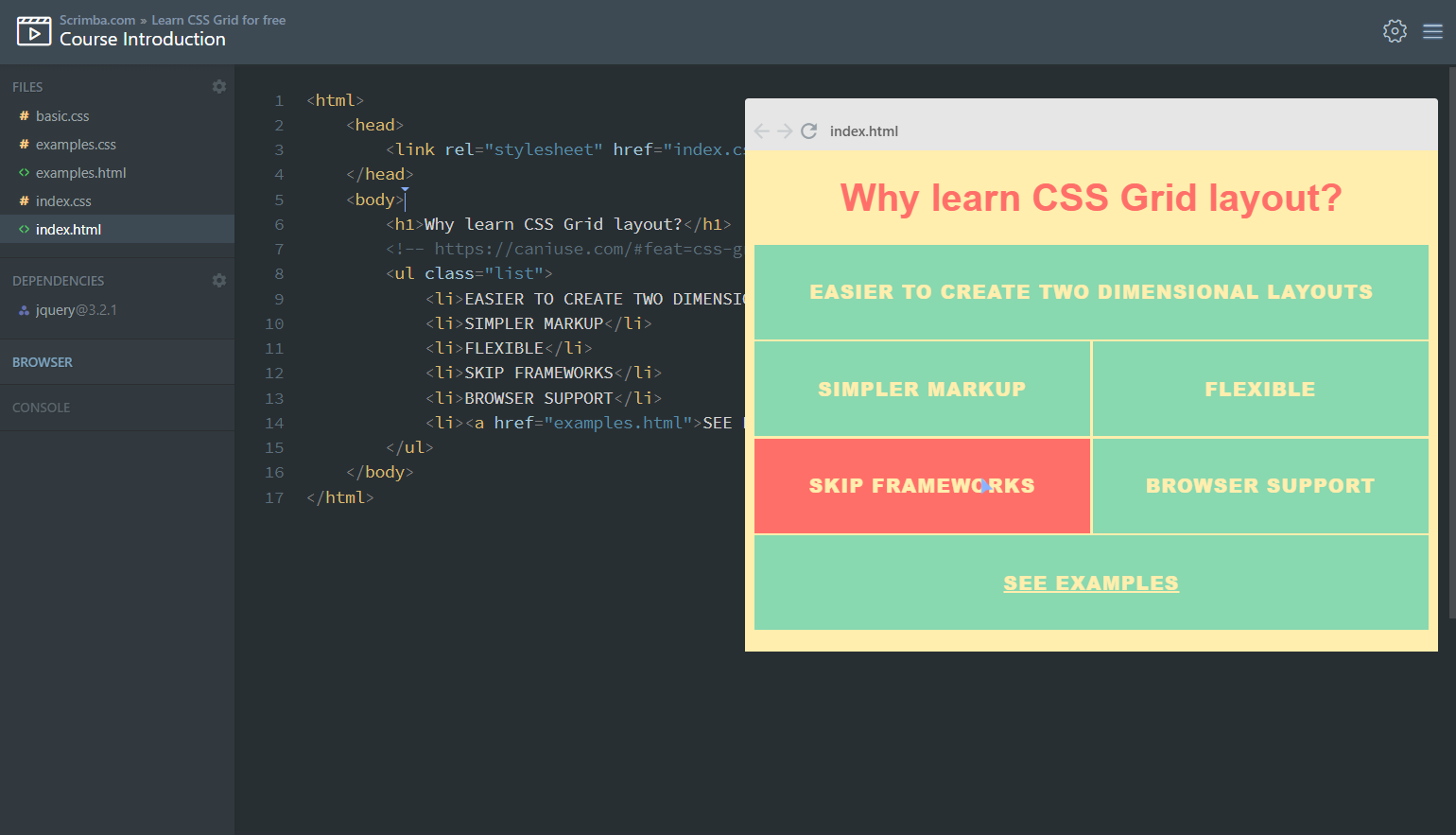 A screen shot from the FREE LEARN CSS course Provided by  SCRIMBA.com