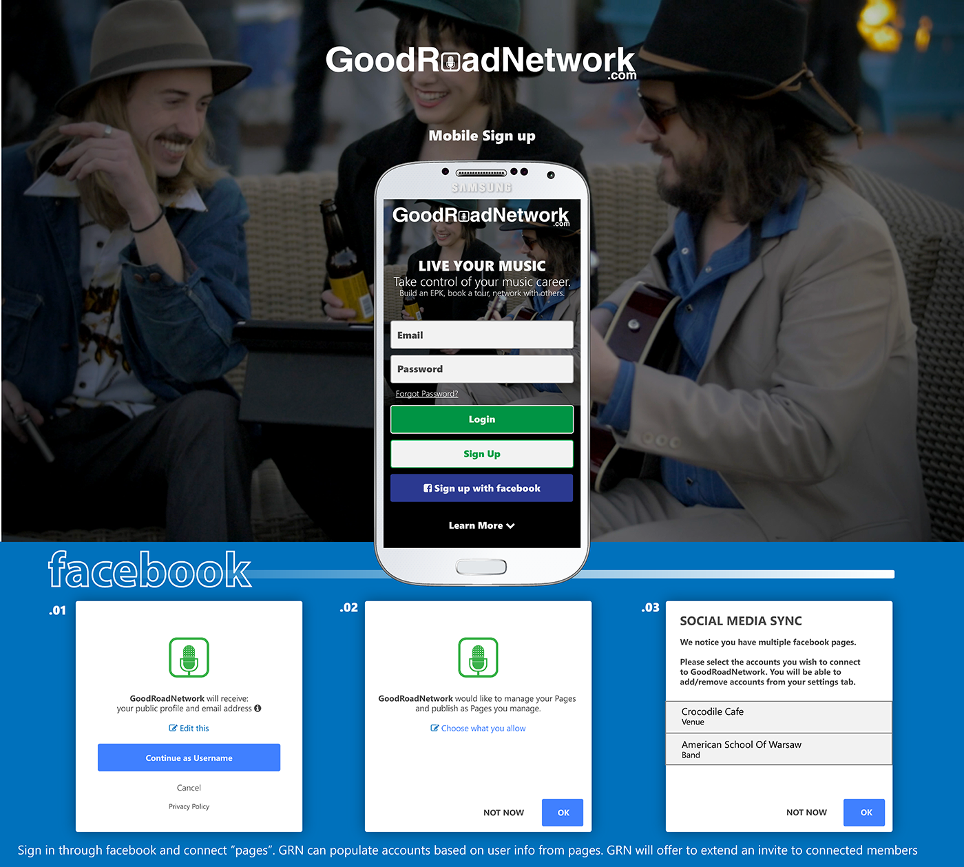 GoodRoadNetwork - Integrating facebook for validation and pre building profile. This is a sample screen from that outline.