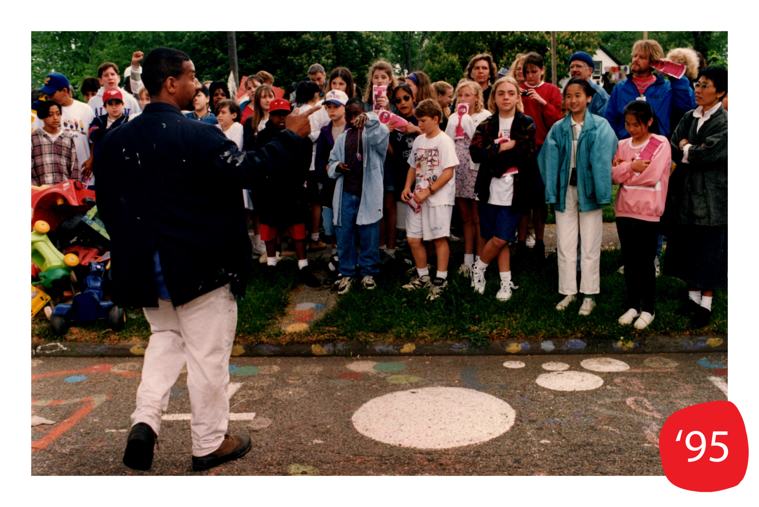 Tyree meets with students for a tour of the Heidelberg Project site