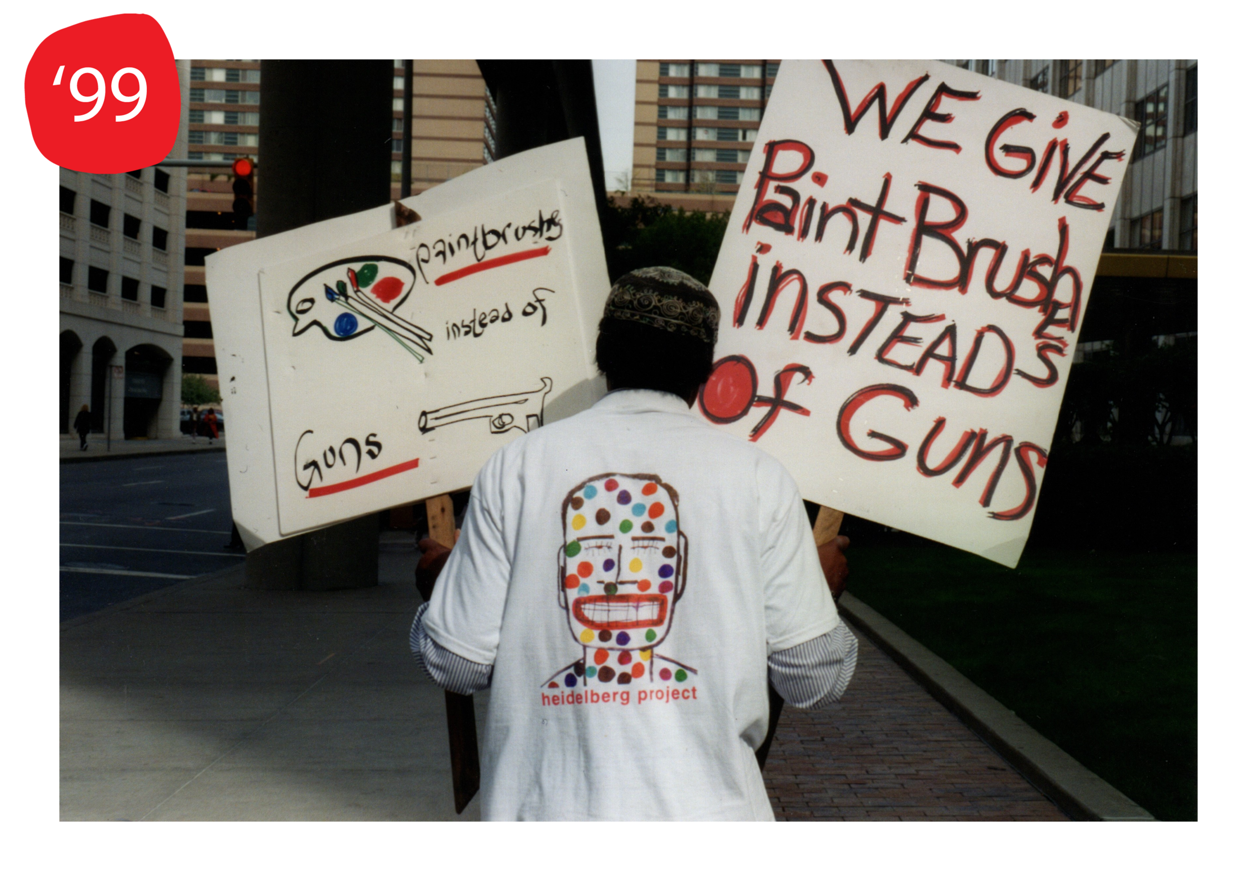 Protest of Heidelberg Project demolitions at Detroit city hall, 1999