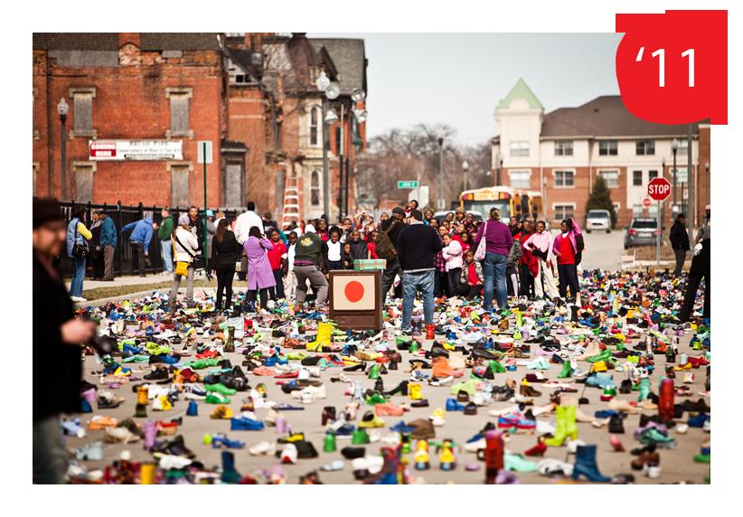 Street Folk  installation by Tyree Guyton for Art X Detroit