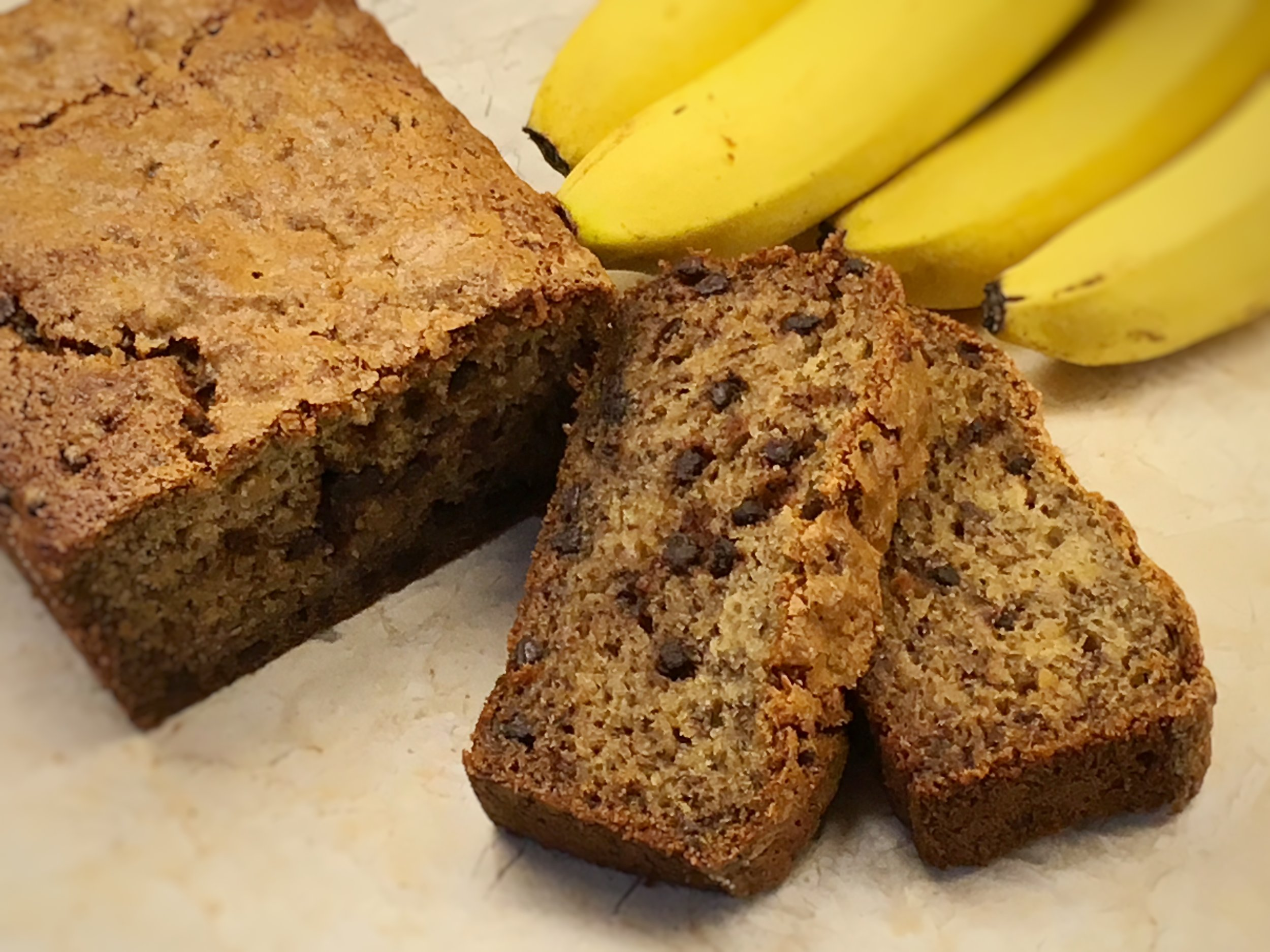 BANANA BREAD : Delicious, moist banana bread with chocolate chips, walnuts or both. Dairy-free.