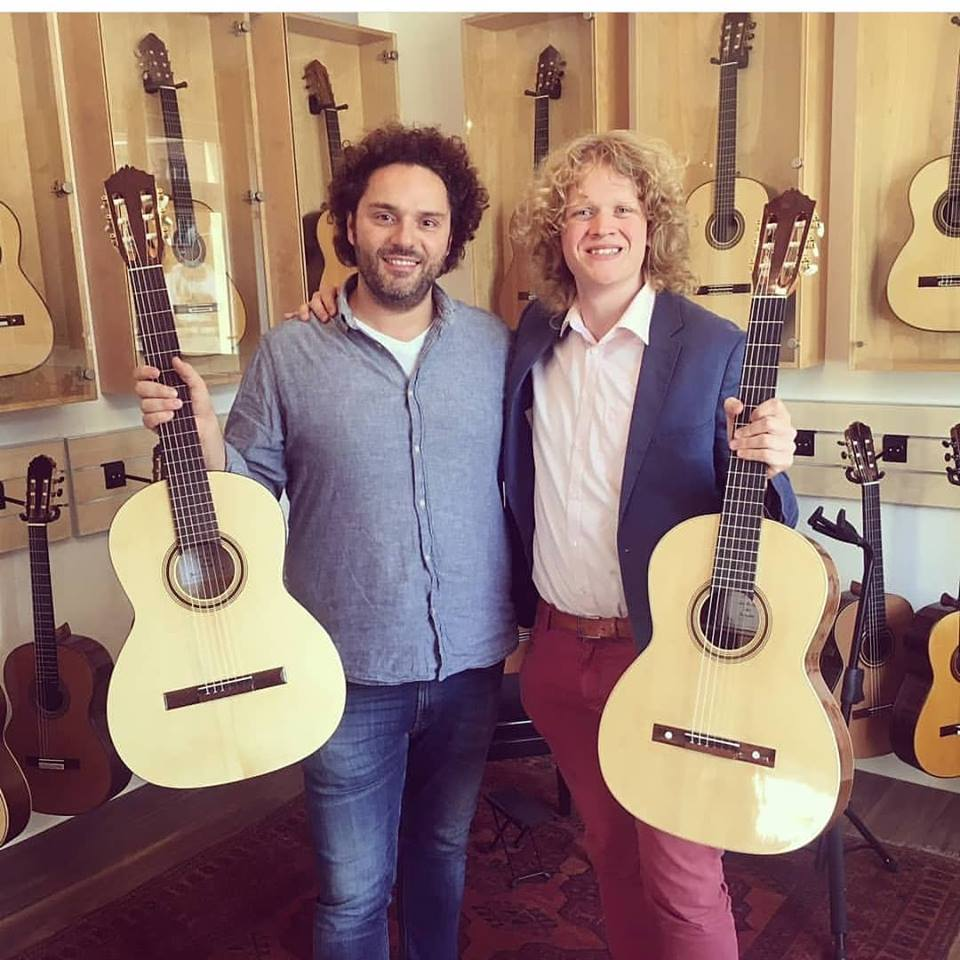 Visiting Siccas guitars, leaving two Den Toom Luthiers guitars. Karlsruhe, Germany