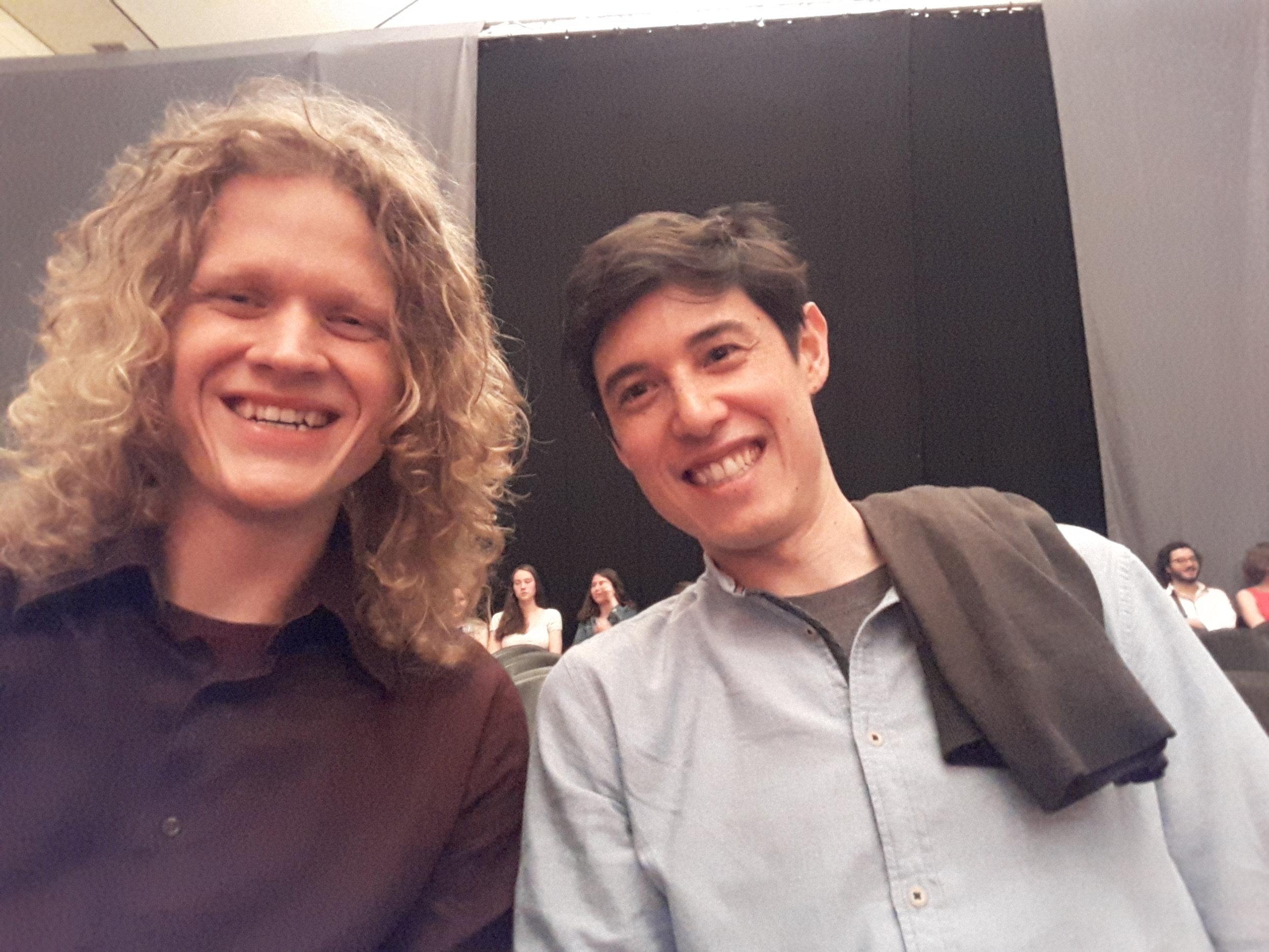 With fellow young American guitarbuilder Michael Cadiz.