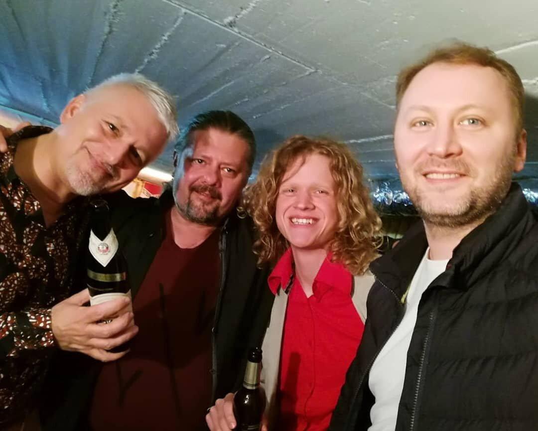 Johan Fostier, Alexei Belousov, me and Grigory Novikov at the Nordhorn guitar festival in Germany.