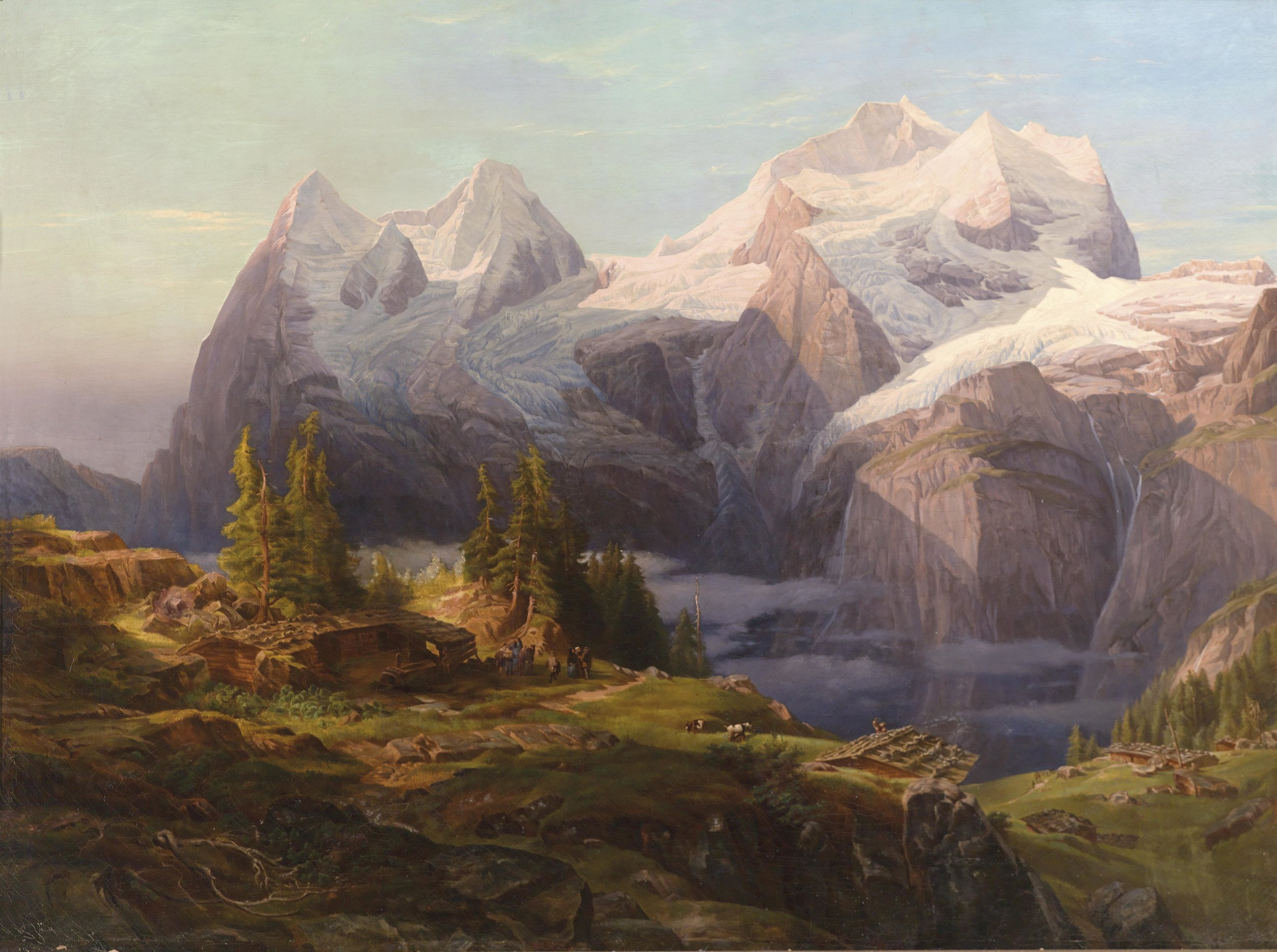 Figure 3 – Anton Hansch's painting of the big three mountains of Eiger, Mönch, and Jungfrau, part of the Swiss Alps (1857).