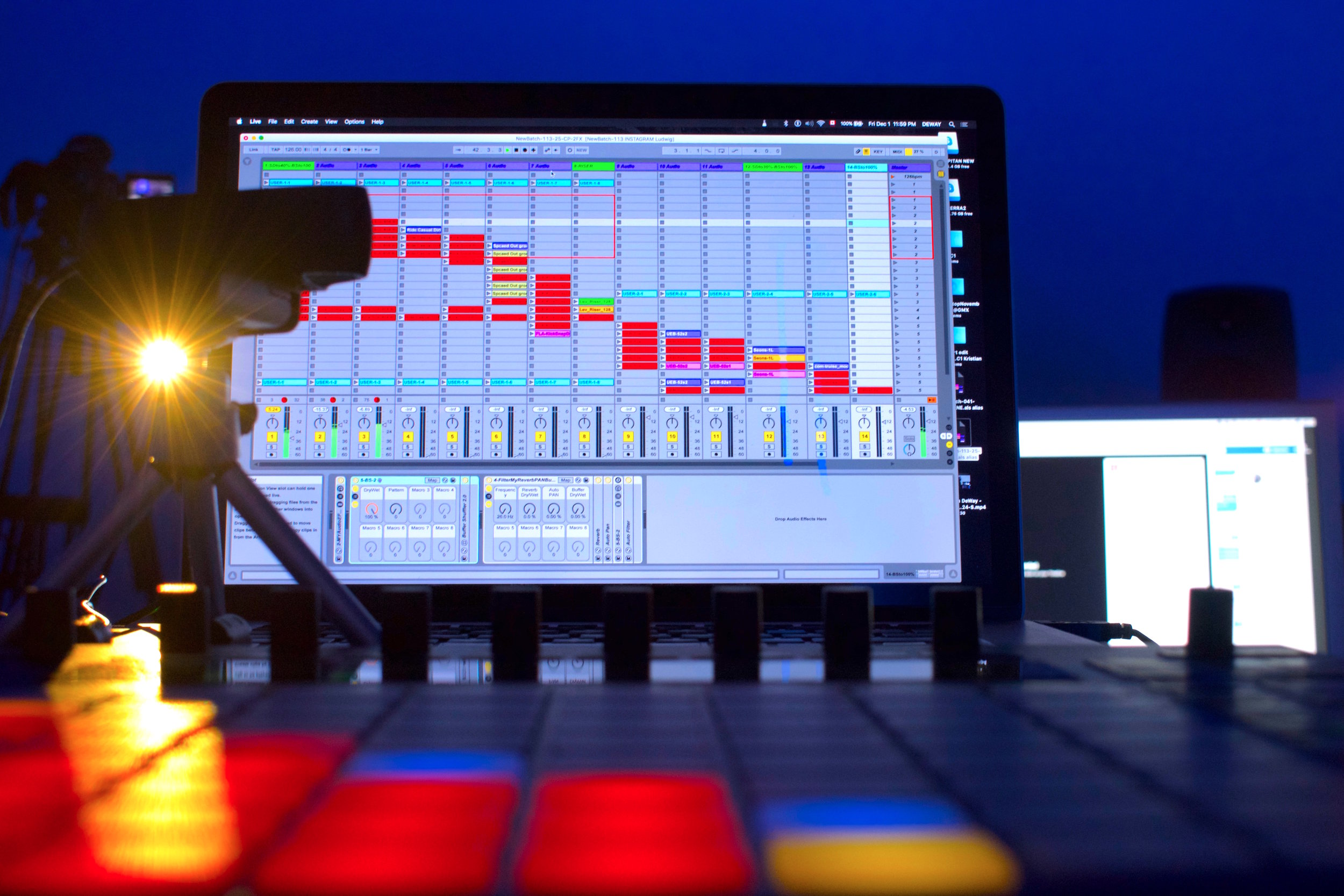 Figure 23 – Ableton's software in conjunction with the Push 2 instrument allows me to develop the structured and arranged sections of my compositions, 2018.