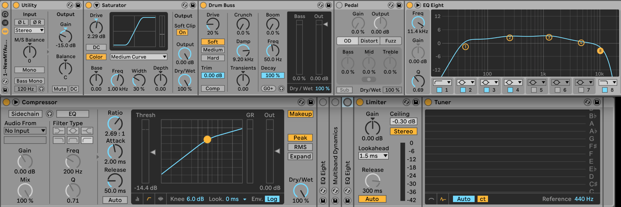 Figure 28 – My Audio Effect Rack in Ableton Live, 2019.